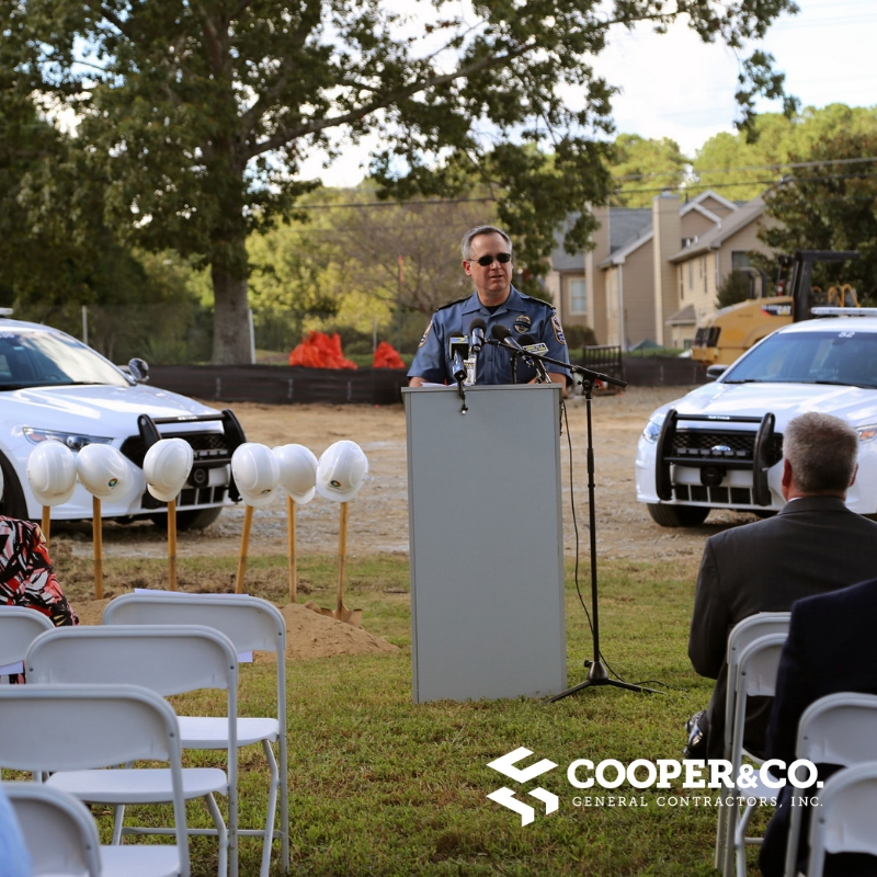 Cheif Ayers speaks at Groundbreaking for Bay Creek Police | Gwinnett County Government | Cooper & Company | Grayson, GA